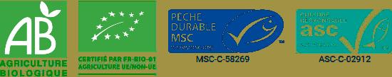 logos agriculture biologique, asc et msc